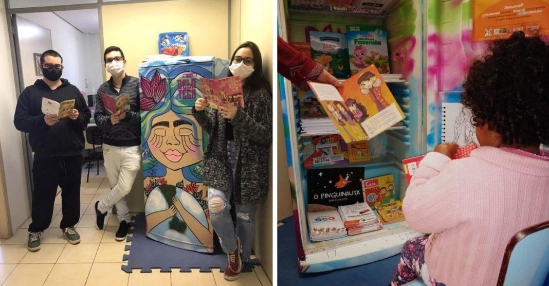 geladeiras transformadas em bibliotecas