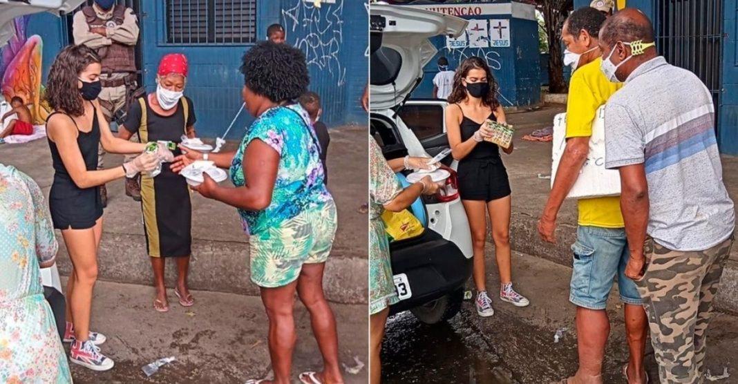 adolescente celebra aniversário doando quentinhas famílias carentes