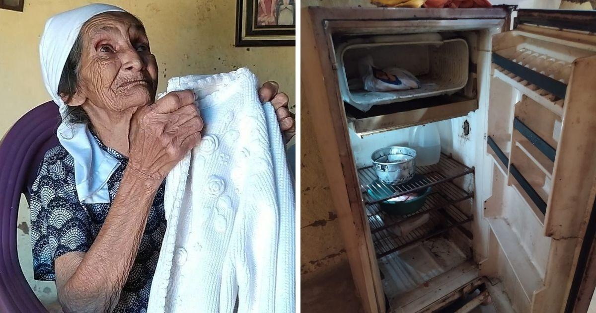 idosa vive em casa sem banheiro e móveis vaquinha voaa