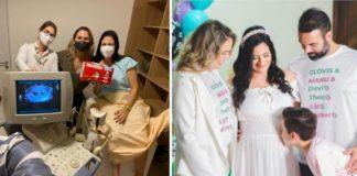 Mulheres em clínica acompanhando gestante em exame de ultrassom e família reunida toda de branco em chá revelação com criança beijando a barriga de gestante