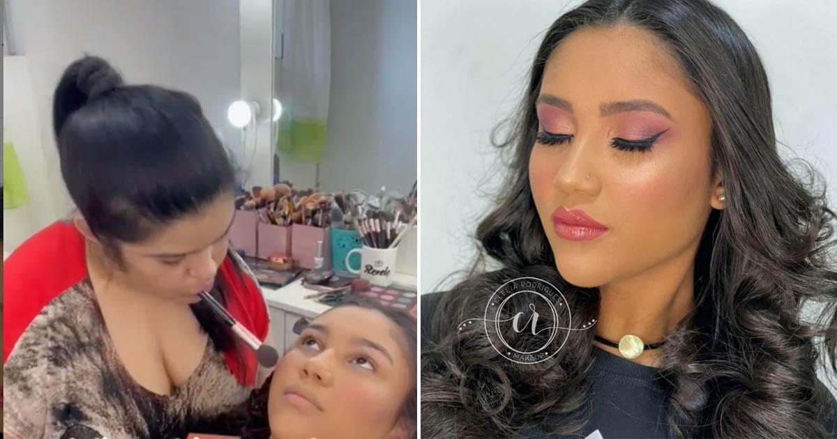 maquiadora faz make em cliente com a boca