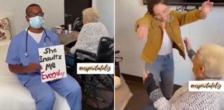 médico surpreende idosa visita aniversário