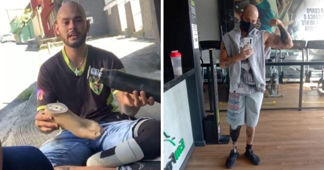 jovem perdeu perna ganha prótese vaquinha voaa