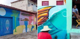 Homem pintado obra de arte em parede de casa e pessoa na varanda olhando
