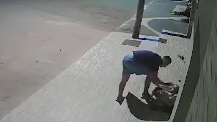 homem cobre cachorro tremia de frio na rua