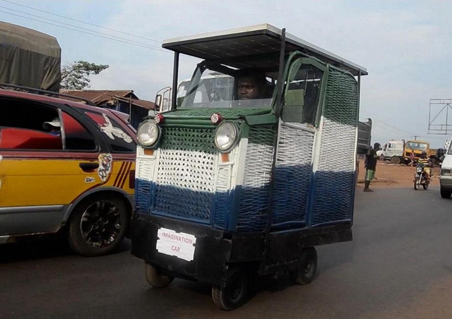 carro movido energia solar feito de bambu lixo sucata serra leoa