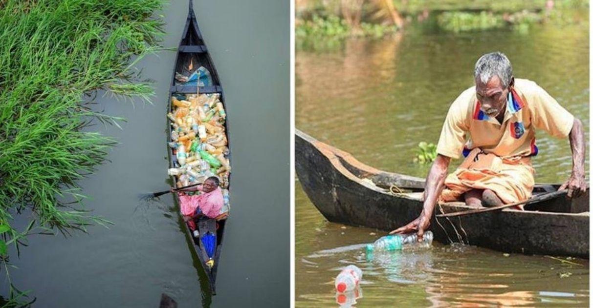 idoso coleta lixo plástico lago poluído Índia