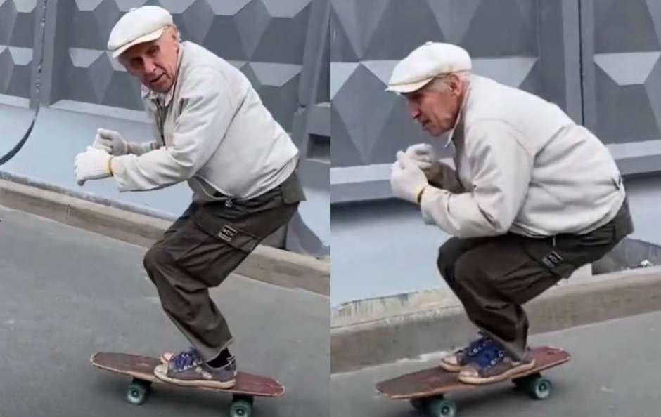 vovô russo arrasa skate video
