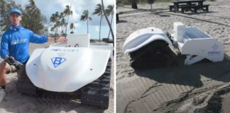 robô limpa-praia movido energia solar coleta lixo plástico