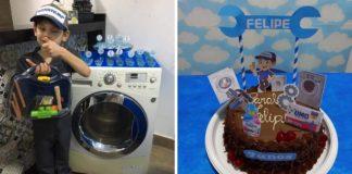 menino aniversário técnico consertador tema máquina lavar roupa