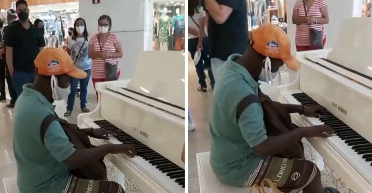 morador de rua toca piano shopping salvador