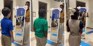 professores incentivam alunos a fazer afirmações positivas em frente ao espelho