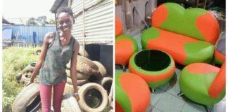 jovem transforma pneus usados lixo móveis cheios de vida