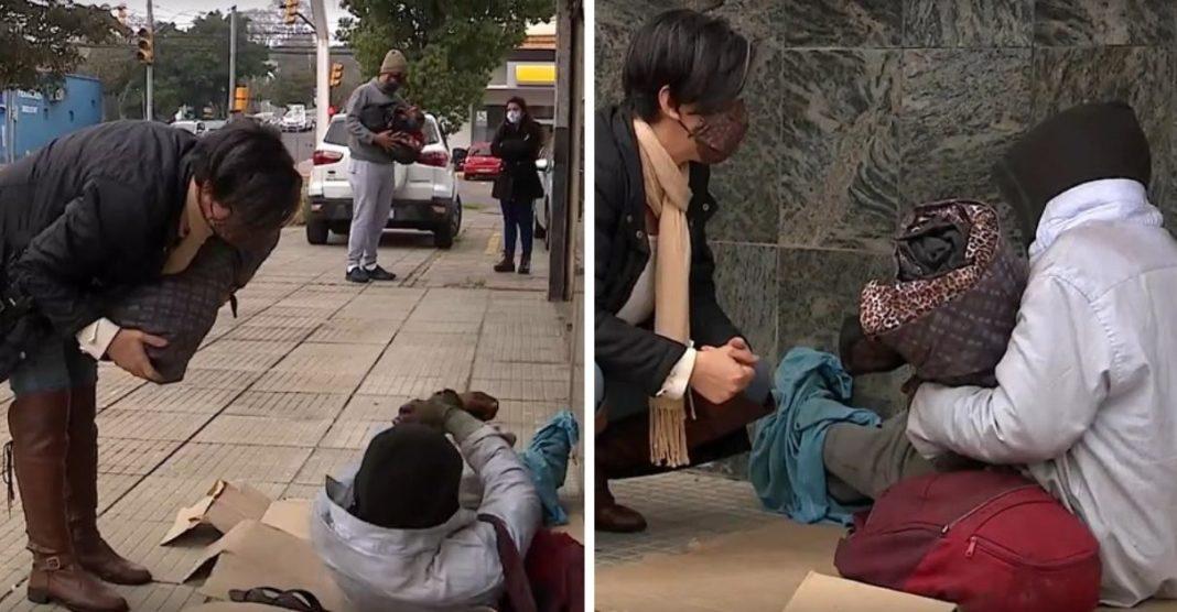 professora costura e distribui sacos dormir pessoas situação de rua