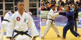 Judocas competindo em tatame