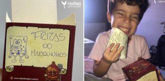 Caixa de hambúrguer com desenho de caneta do Bob Esponja e Menino sorrindo com caixa de hambúrguer na mão