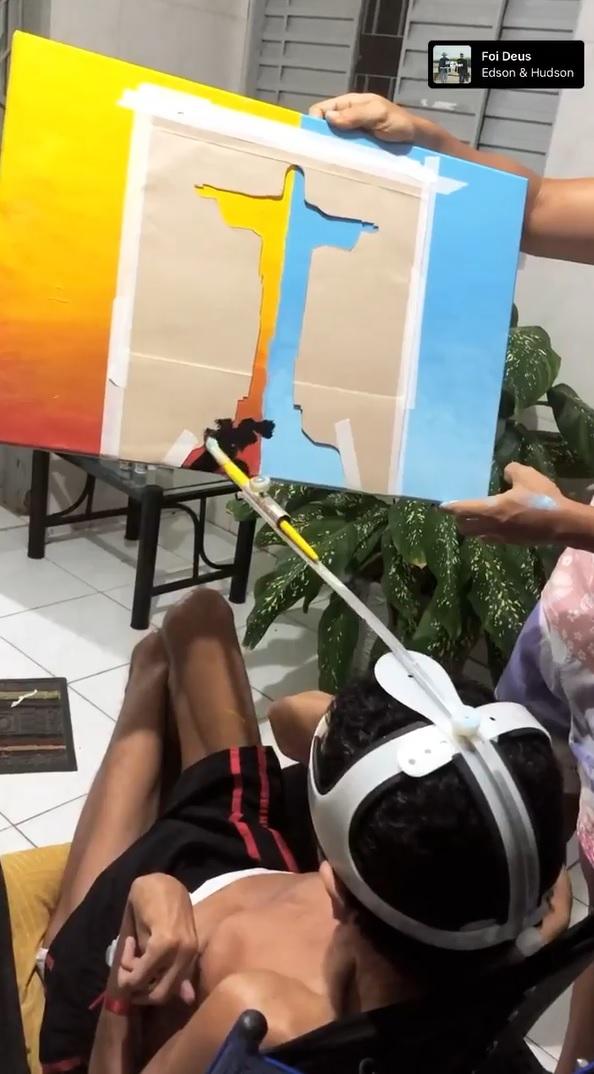 vaquinha voaa jovem pintor paralisia cerebral sonho cadeira motorizada