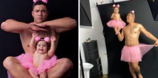 Vestido de bailarina papai militar faz lindo ensaio de fotos para aniversário filha