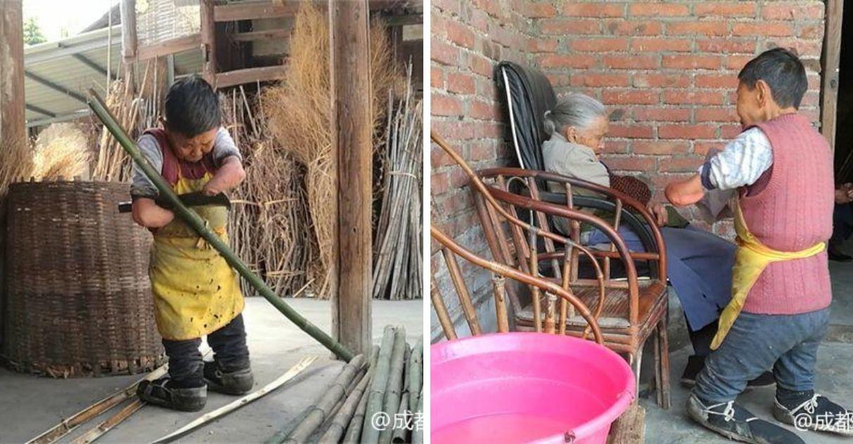 mulher sem braços sem pernas cuida da mãe sozinha na china