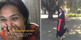 Mulher sorrindo e chorando com mãos no rosto ao ser aprovada na OAB e mulher com roupa de formatura em jardim