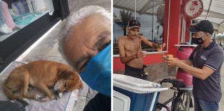 idoso aposentado leva comida moradores rua e cães