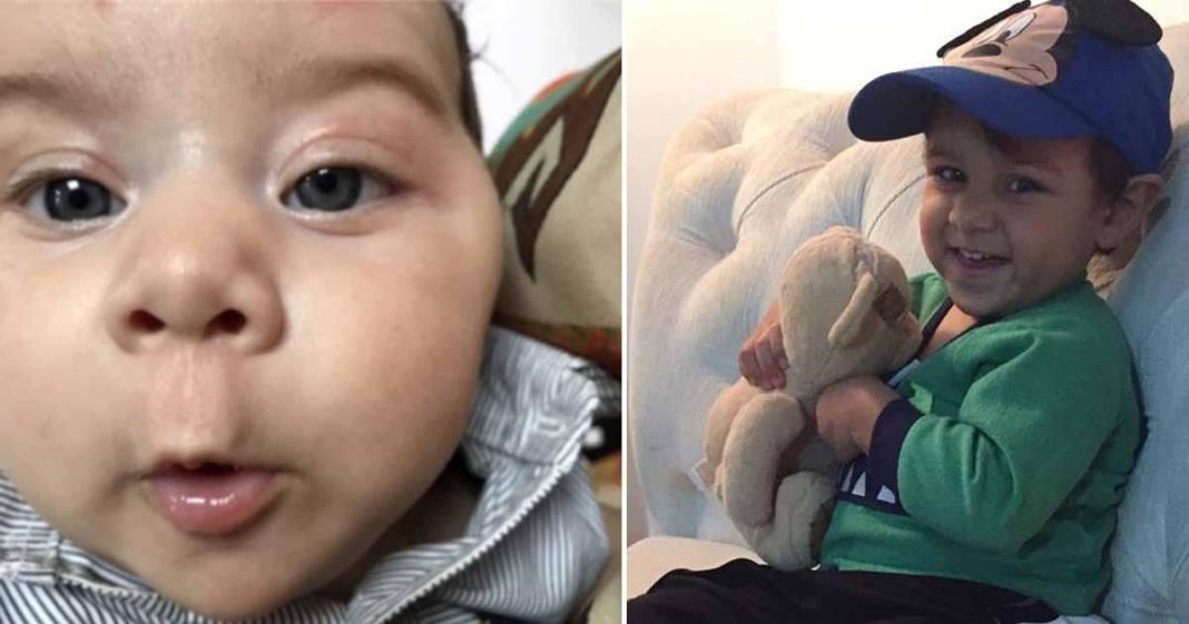 menino com câncer próximo ao olho esquerdo