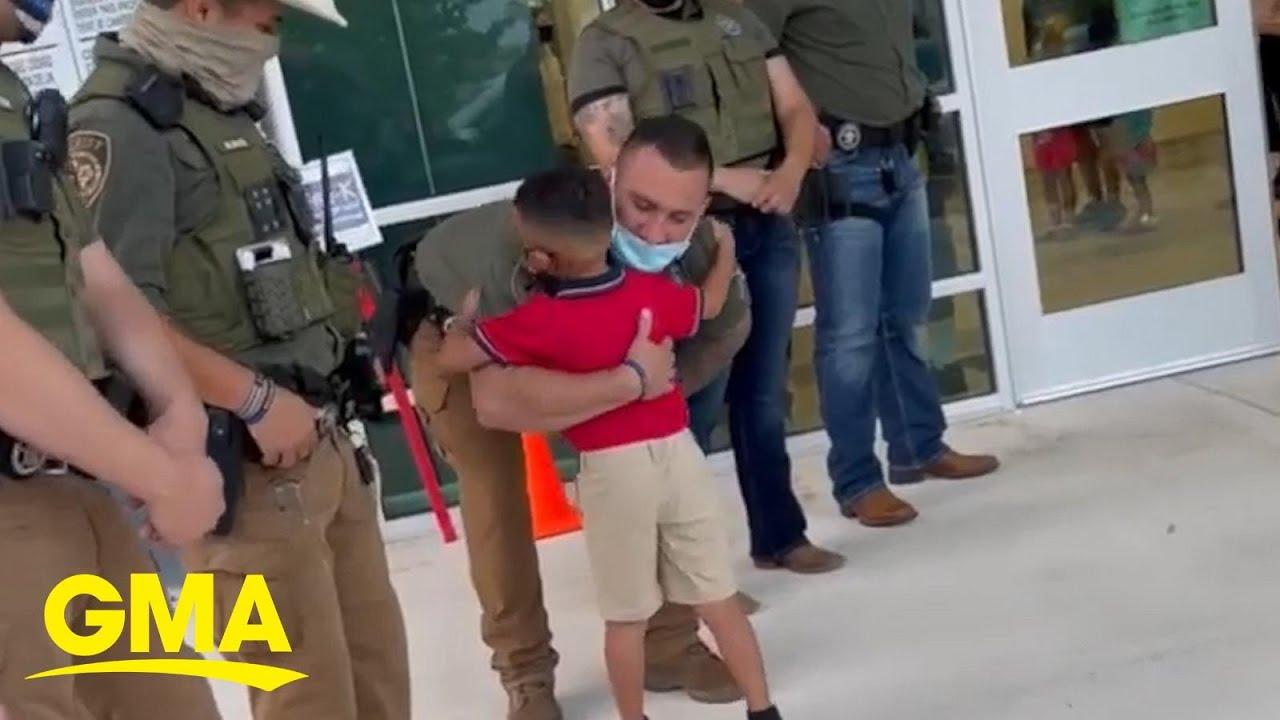 policiais escoltam filho detetive falecido apoio emocional