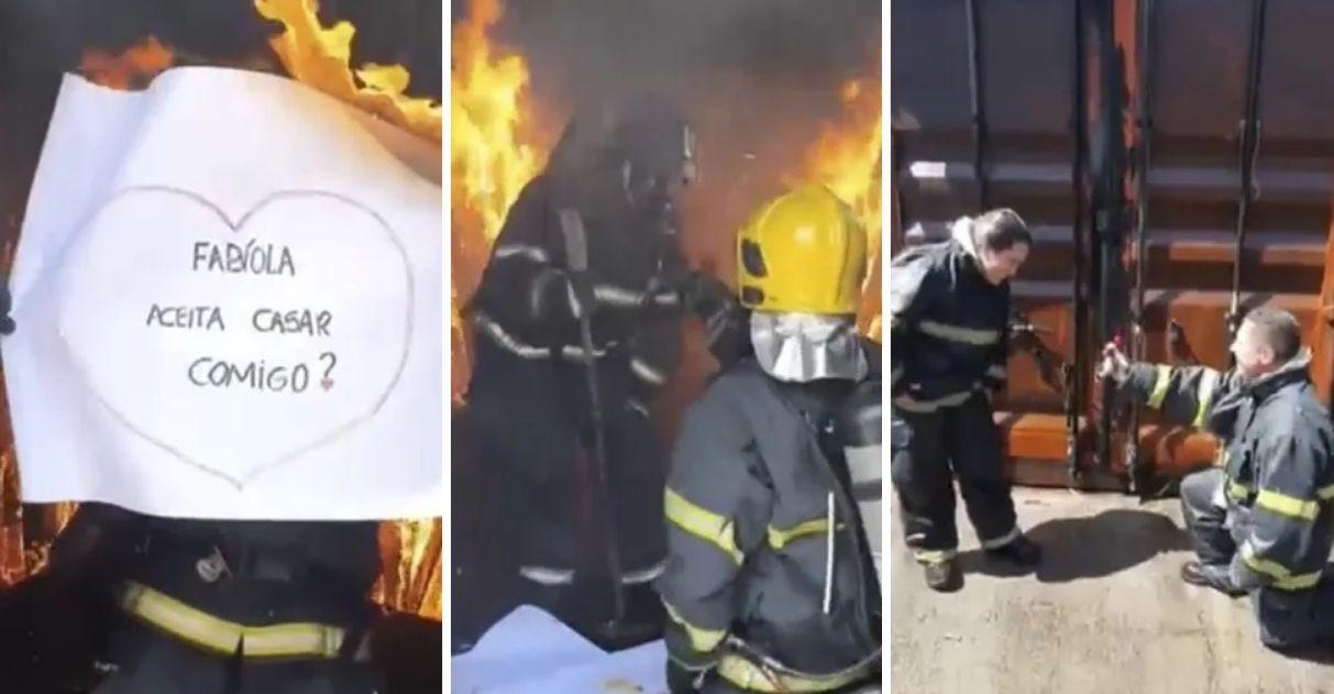 bombeiro pede namorada em casamento em meio às chamas