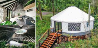 casal constrói yurt tenda nômade