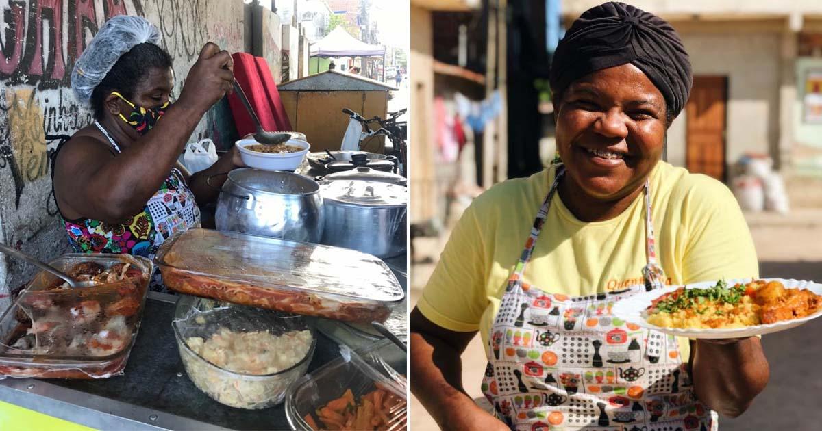 chef de cozinha servindo clientes em barraquinha na rua