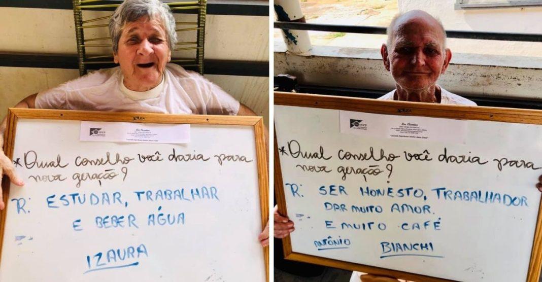 idosos casa de acolhimento dão conselhos para os mais jovens