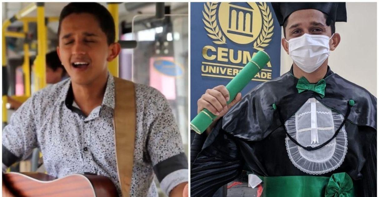 jovem cantava ônibus forma medicina diploma