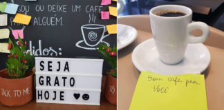 xícara de café branca ao lado de bilhete